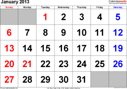 January 2013 calendar, landscape orientation, large numerals, available as printable templates for Word, Excel and PDF