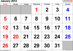 January 2014 calendar, landscape orientation, large numerals, available as printable templates for Word, Excel and PDF