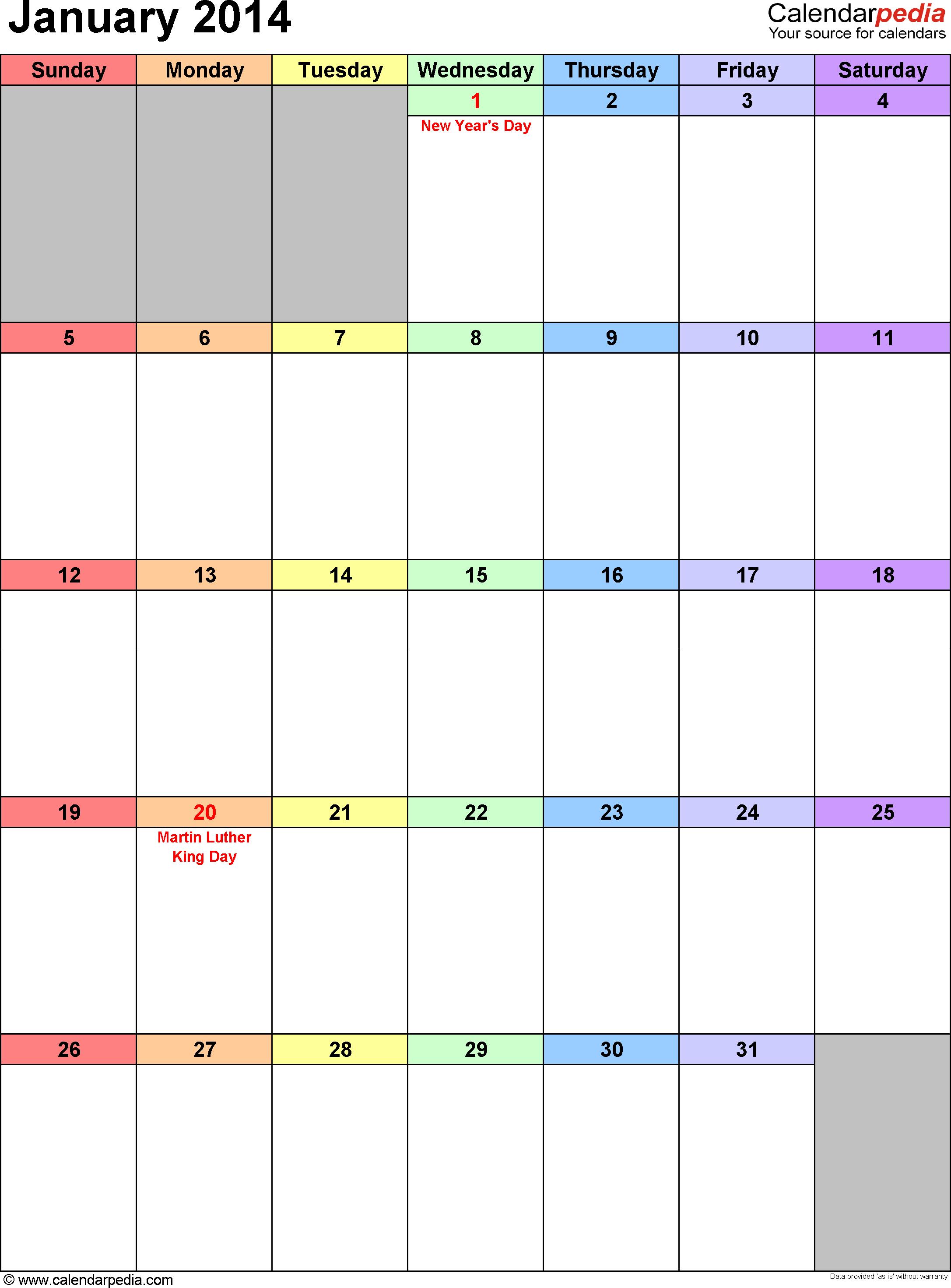 January 2014 calendar, portrait orientation, 'rainbow calendar', available as printable templates for Word, Excel and PDF