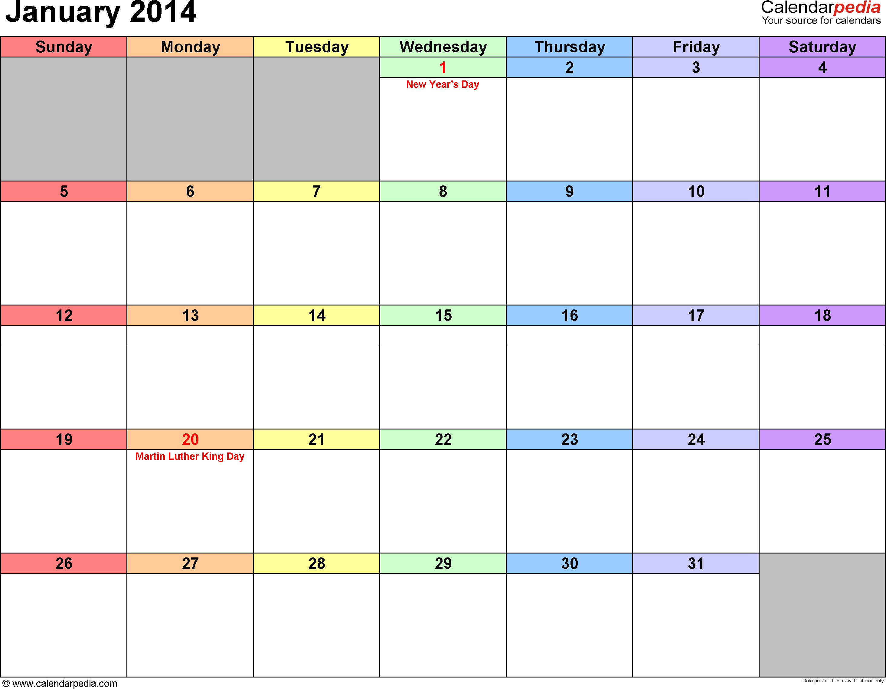 January 2014 calendar, landscape orientation, 'rainbow calendar', available as printable templates for Word, Excel and PDF