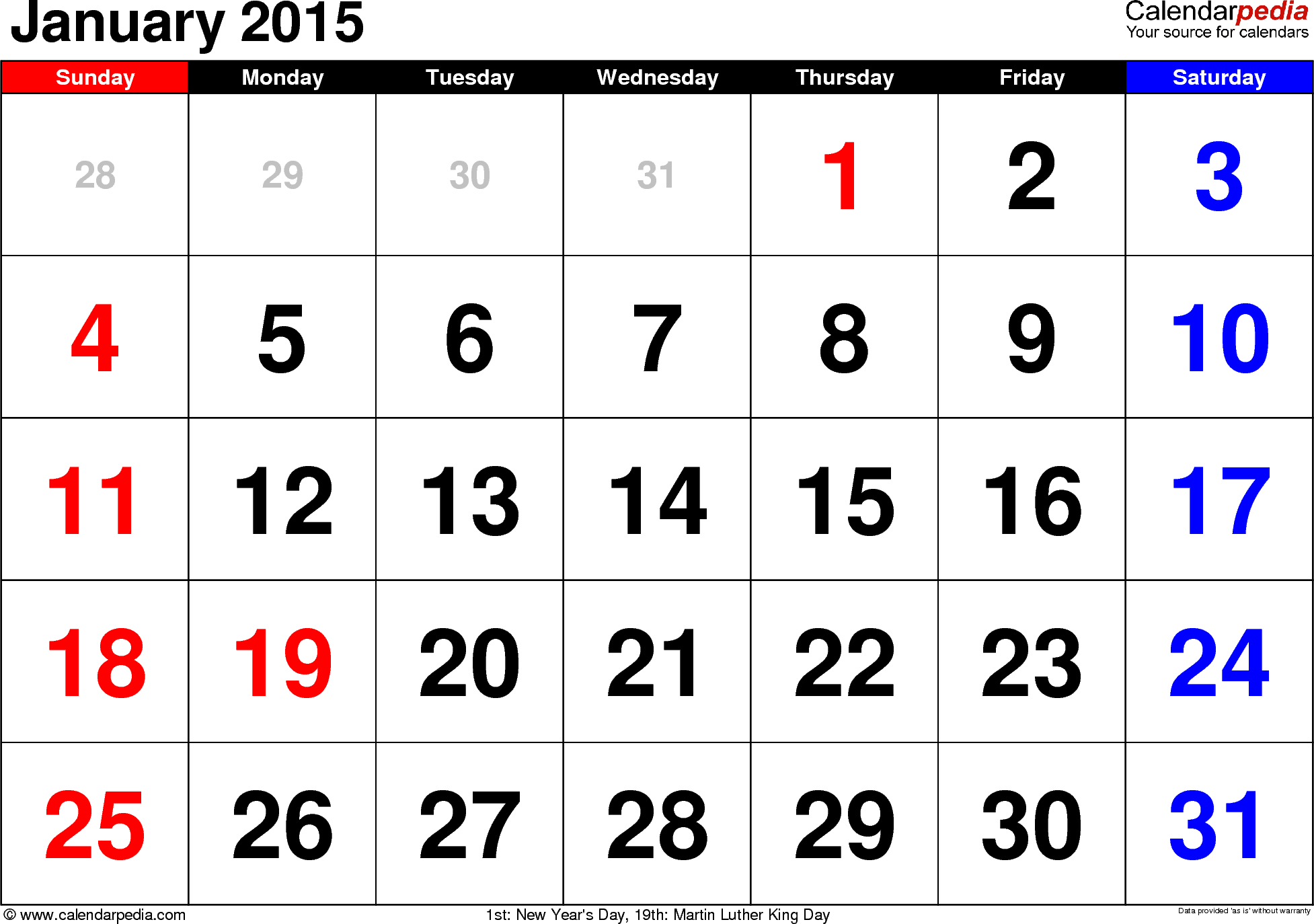 January 2015 calendar, landscape orientation, large numerals, available as printable templates for Word, Excel and PDF