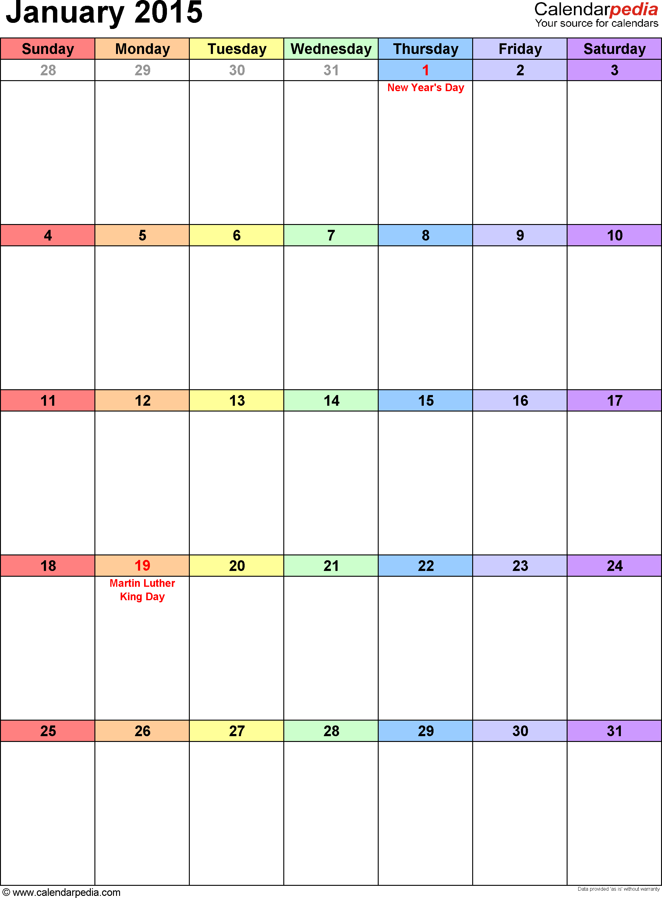 January 2015 calendar as printable Word, Excel & PDF templates