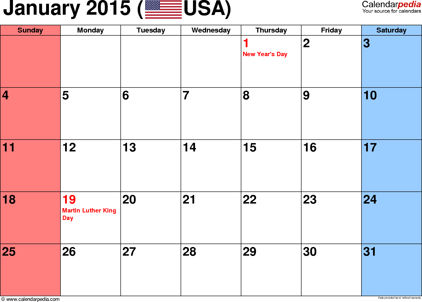 January 2015 calendar, landscape orientation, small numerals, available as printable templates for Word, Excel and PDF