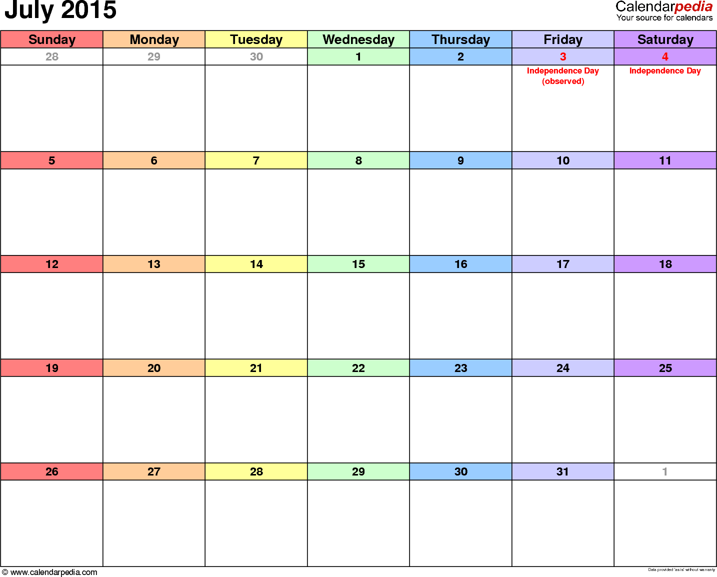 July 2015 calendar, landscape orientation, 'rainbow calendar', available as printable templates for Word, Excel and PDF