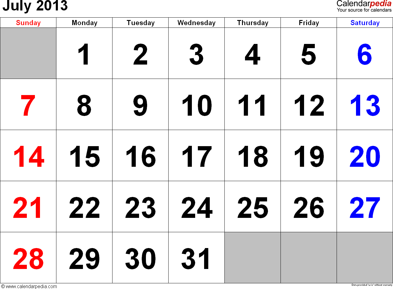 July 2013 calendar, landscape orientation, large numerals, available as printable templates for Word, Excel and PDF