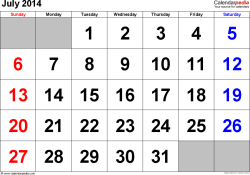 July 2014 calendar, landscape orientation, large numerals, available as printable templates for Word, Excel and PDF
