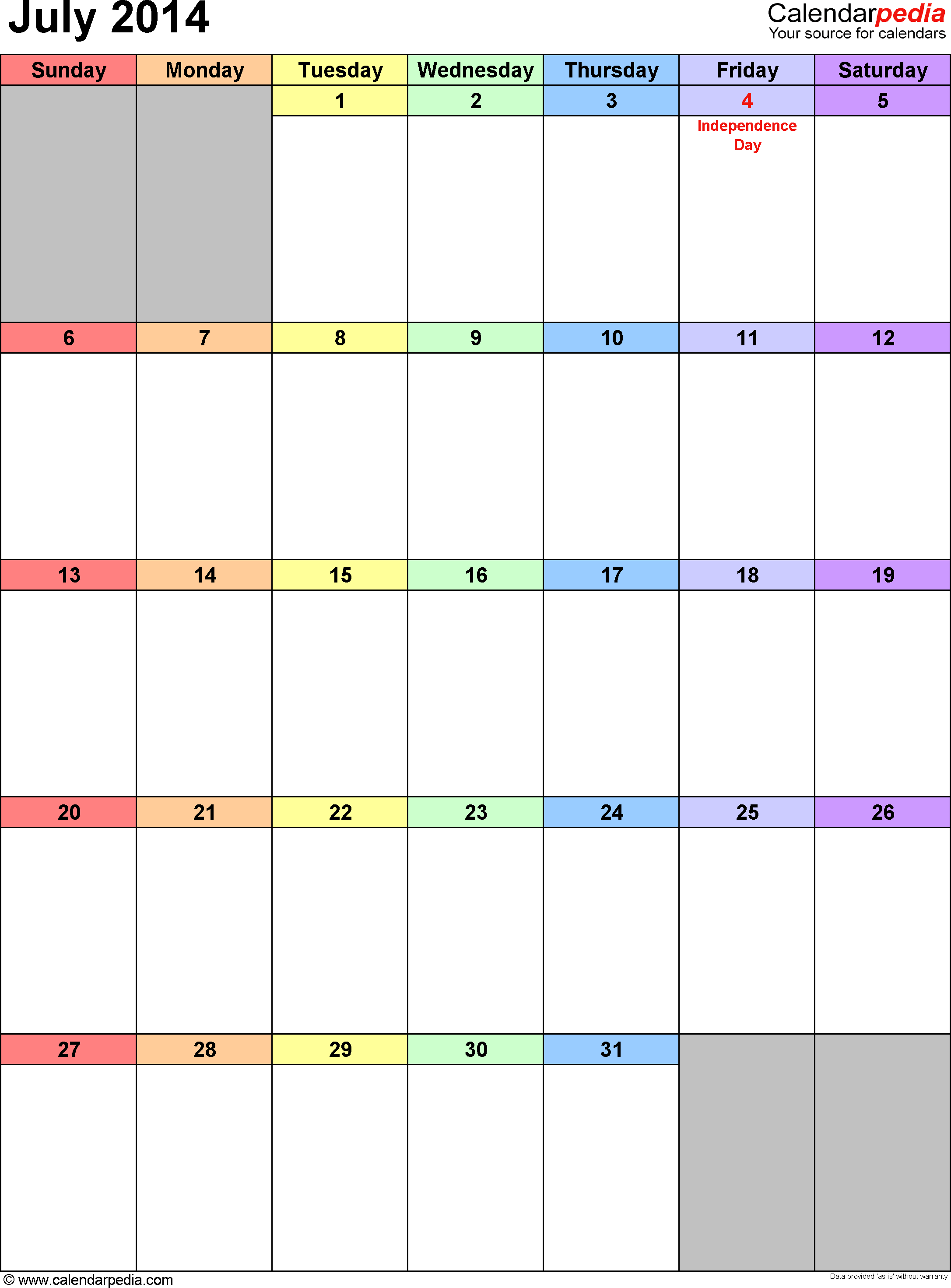 July 2014 calendar as printable Word, Excel & PDF templates
