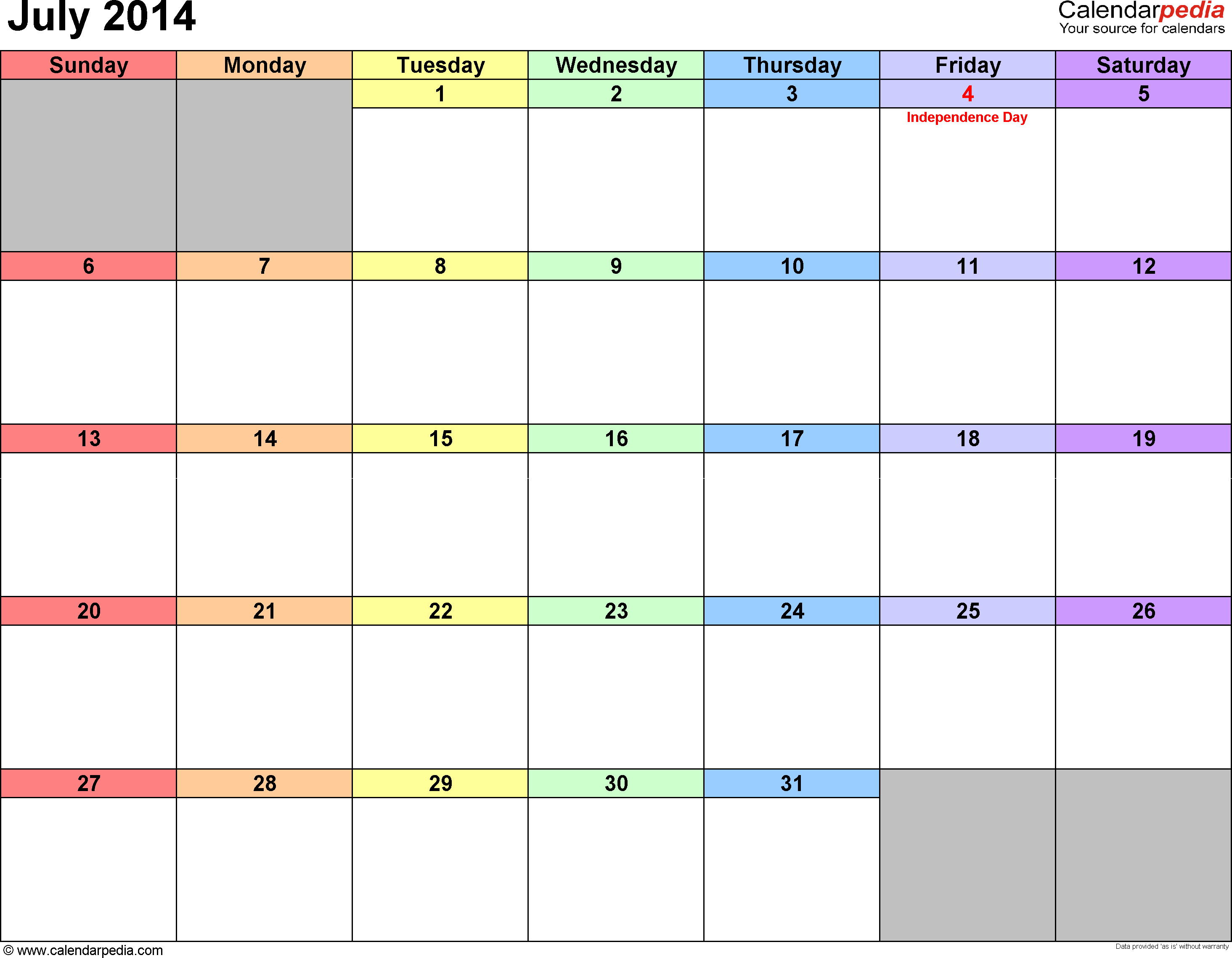July 2014 calendar printable template