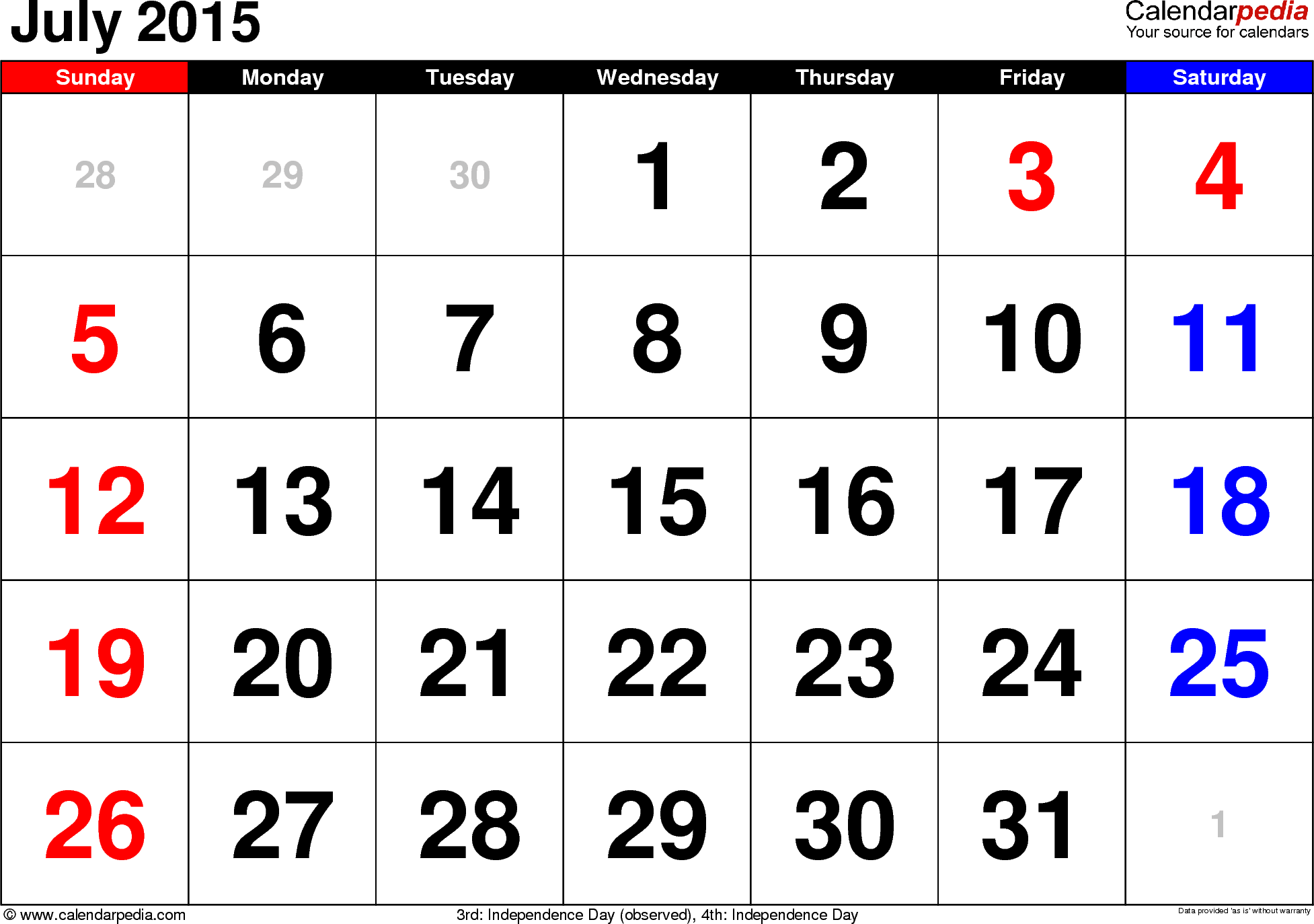 July 2015 calendar, landscape orientation, large numerals, available as printable templates for Word, Excel and PDF