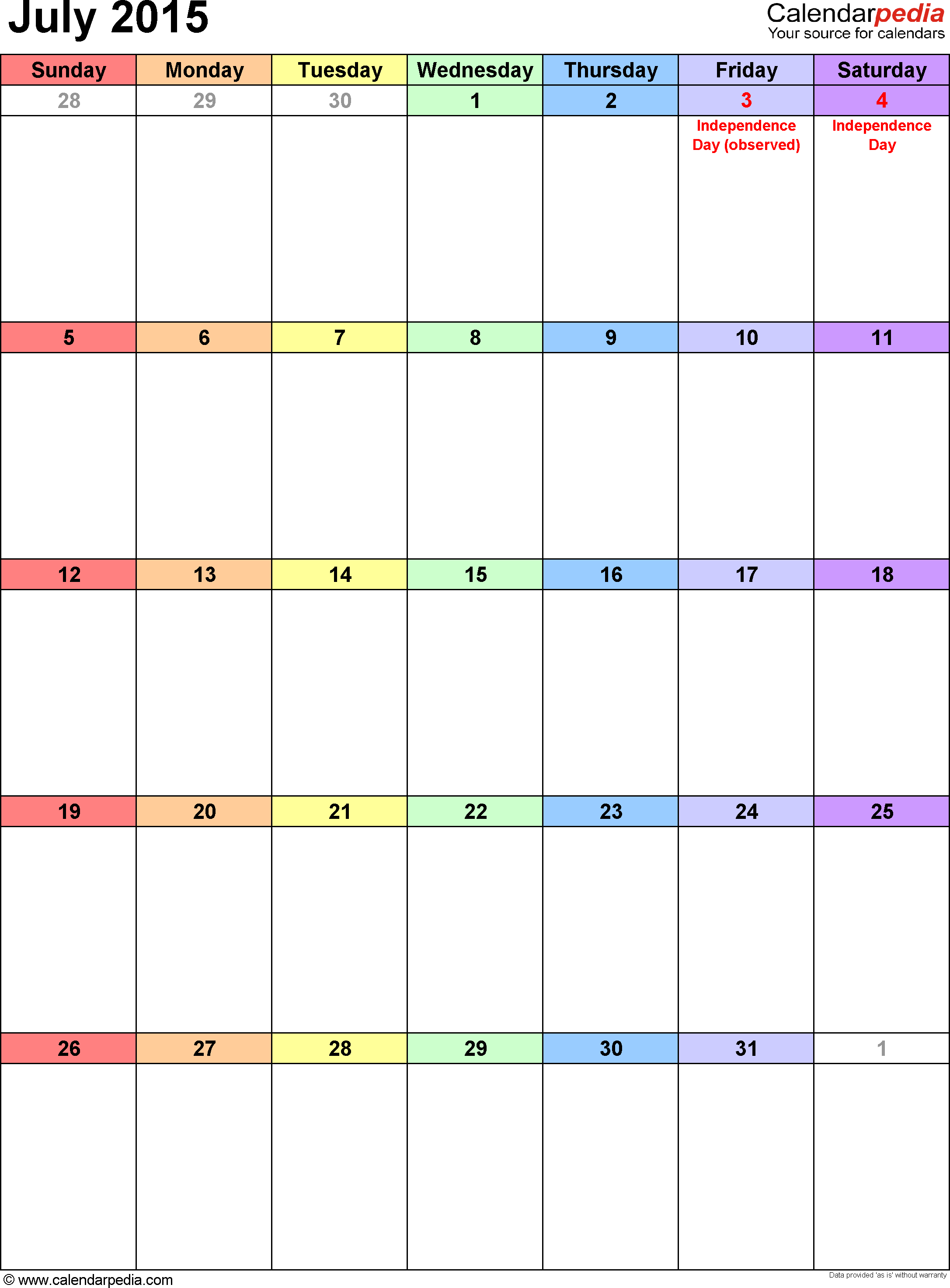 July 2015 calendar, portrait orientation, 'rainbow calendar', available as printable templates for Word, Excel and PDF