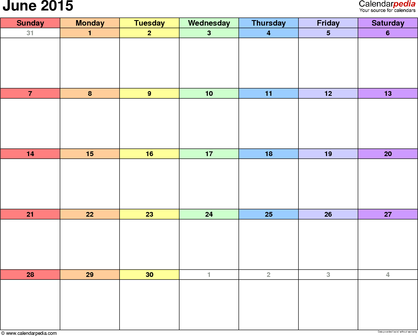 June 2015 calendar, landscape orientation, 'rainbow calendar', available as printable templates for Word, Excel and PDF