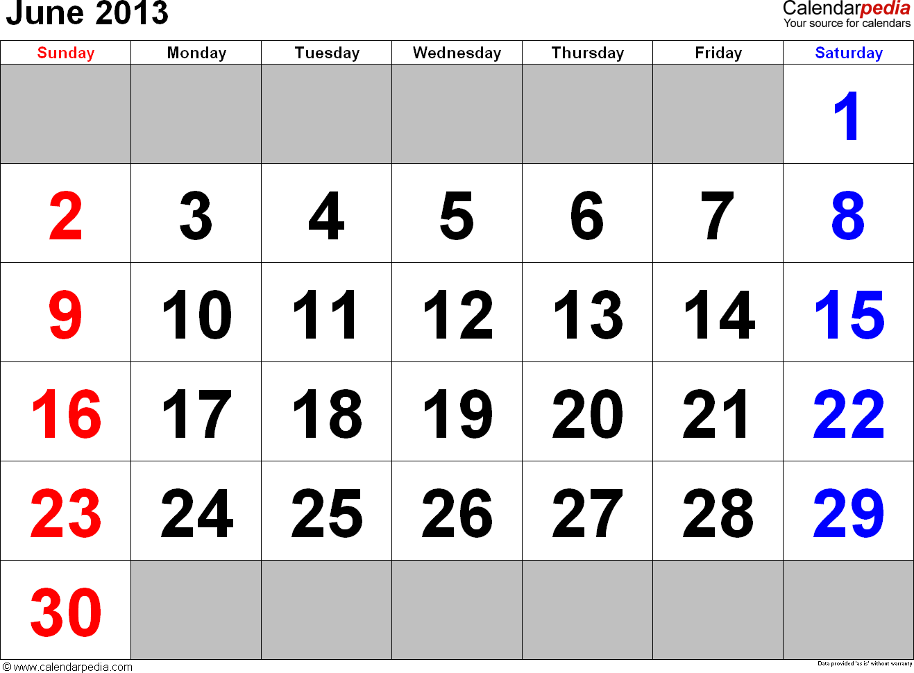 June 2013 calendar, landscape orientation, large numerals, available as printable templates for Word, Excel and PDF