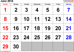 June 2014 calendar, landscape orientation, large numerals, available as printable templates for Word, Excel and PDF