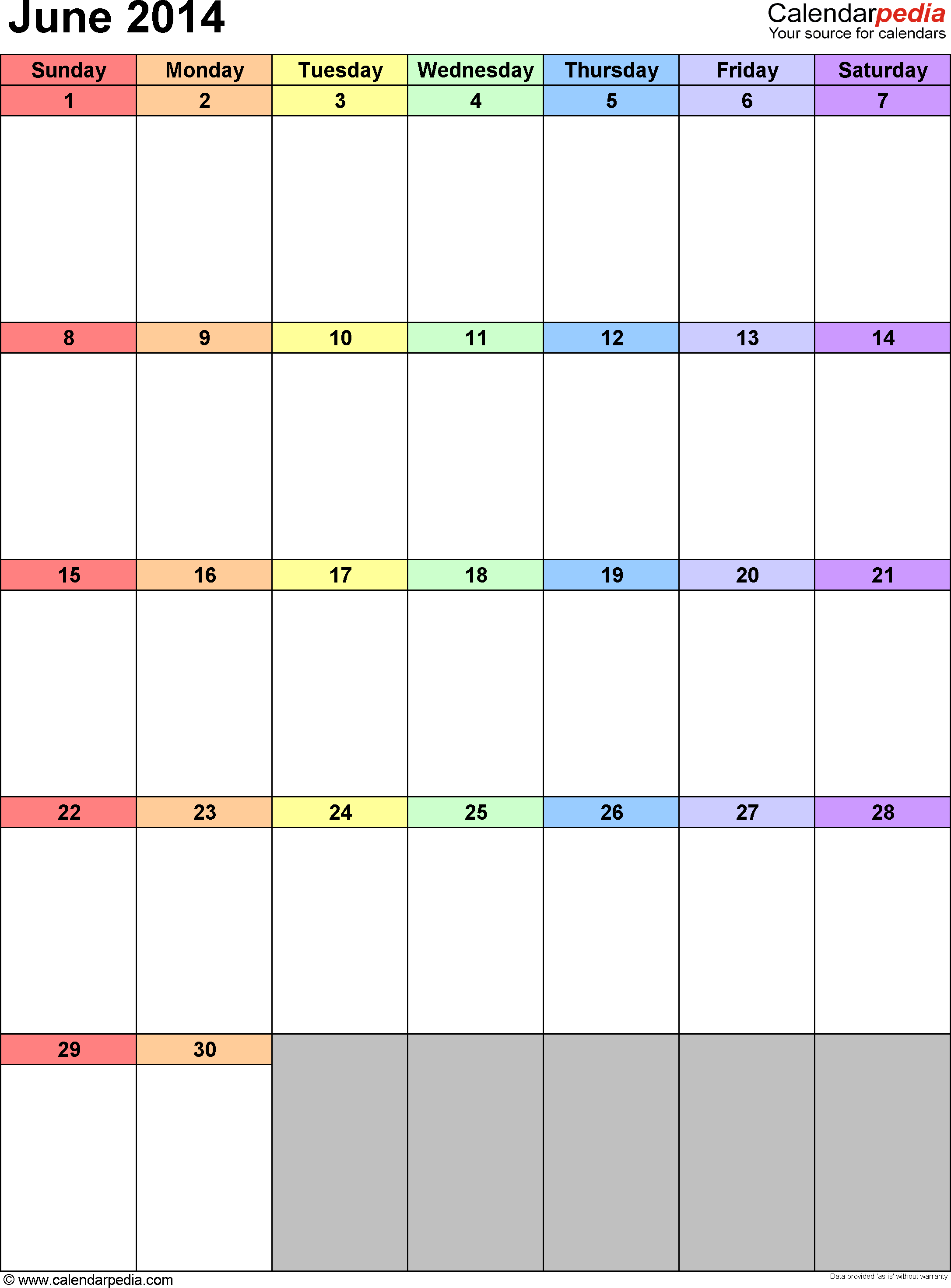 June 2014 calendar as printable Word, Excel & PDF templates