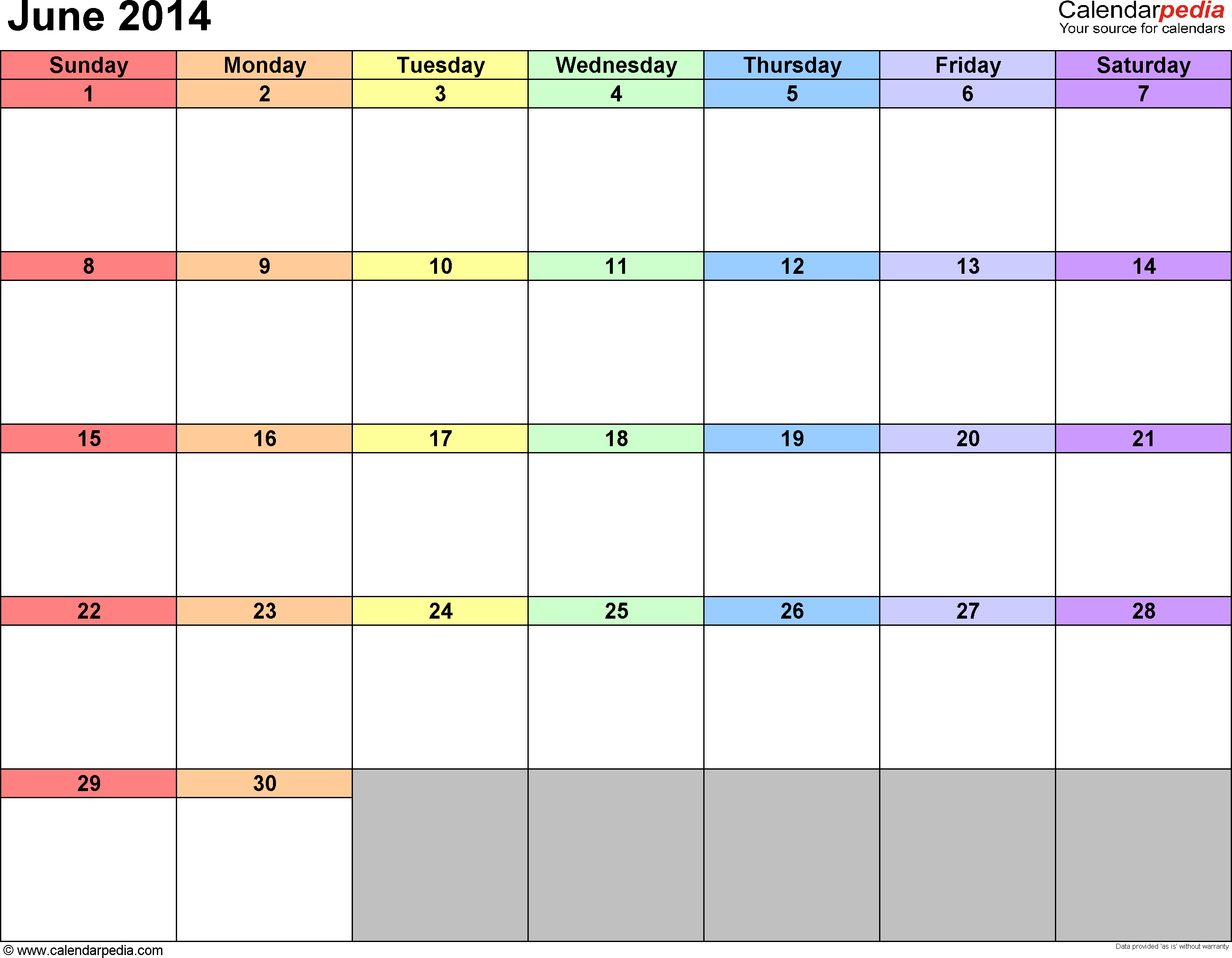 2014 Calendar Printable Template - June 2016 Fillable Calendar