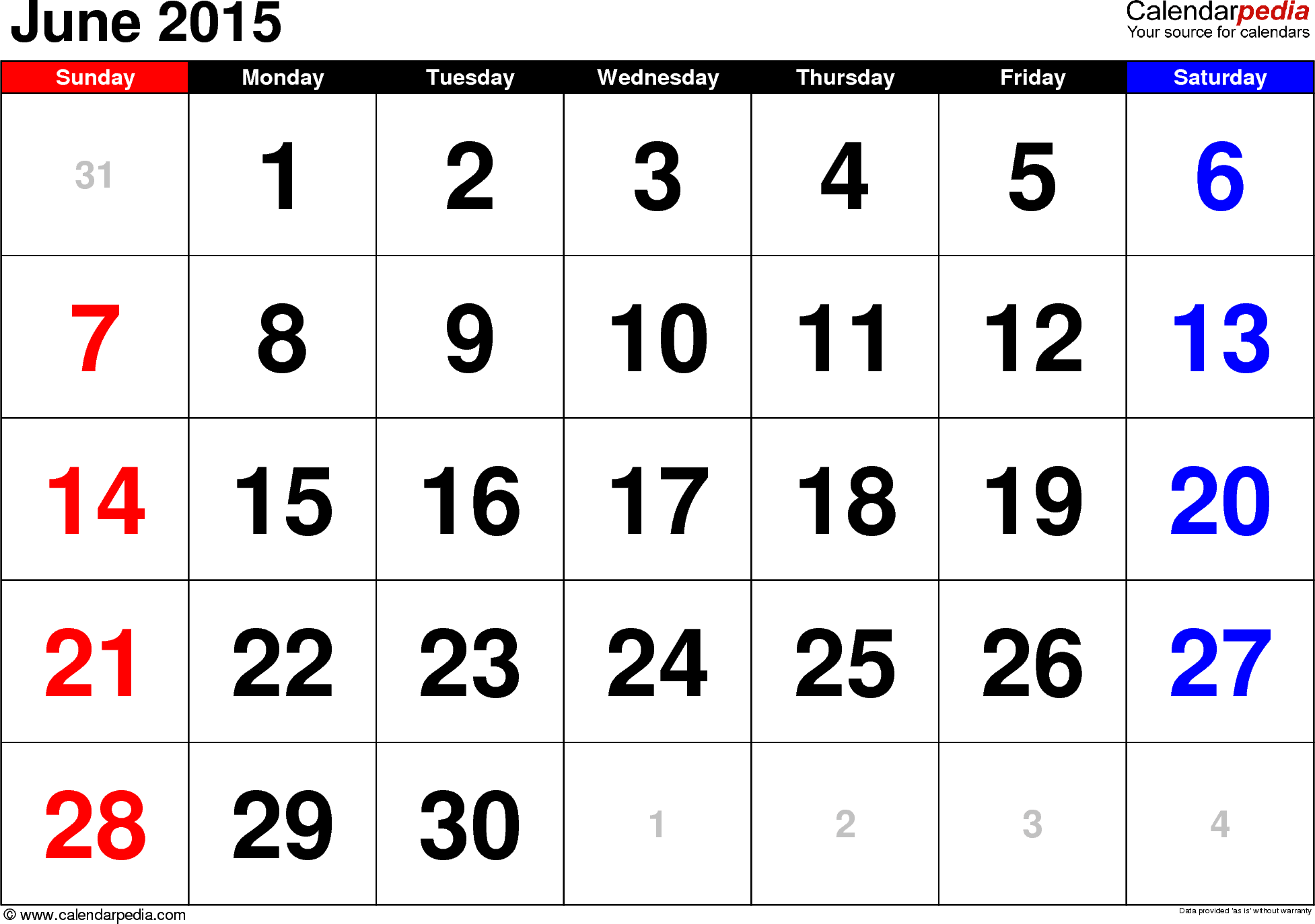 June 2015 calendar, landscape orientation, large numerals, available as printable templates for Word, Excel and PDF