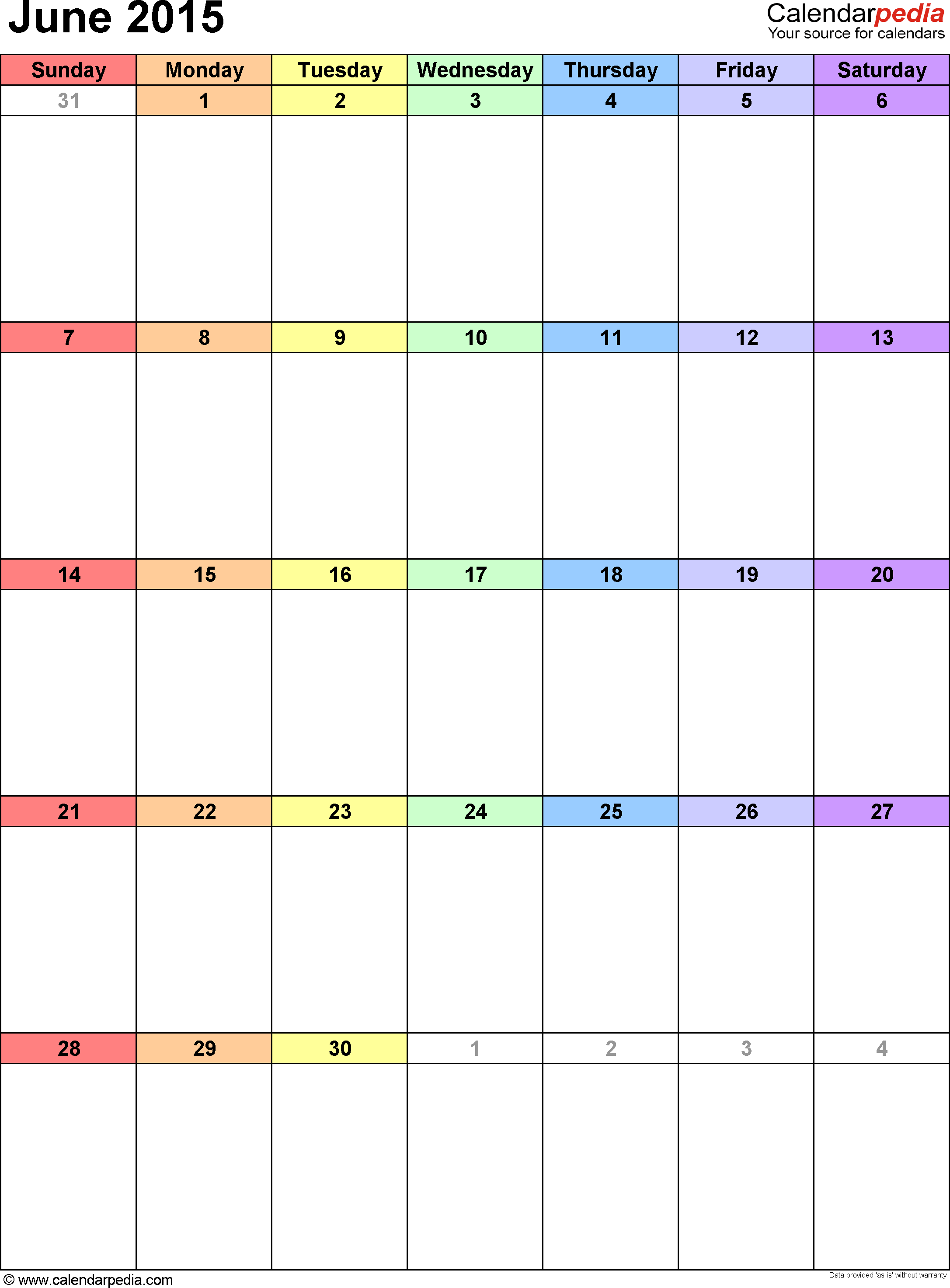 June 2015 Calendars for Word Excel PDF – Calendar Templates in Word