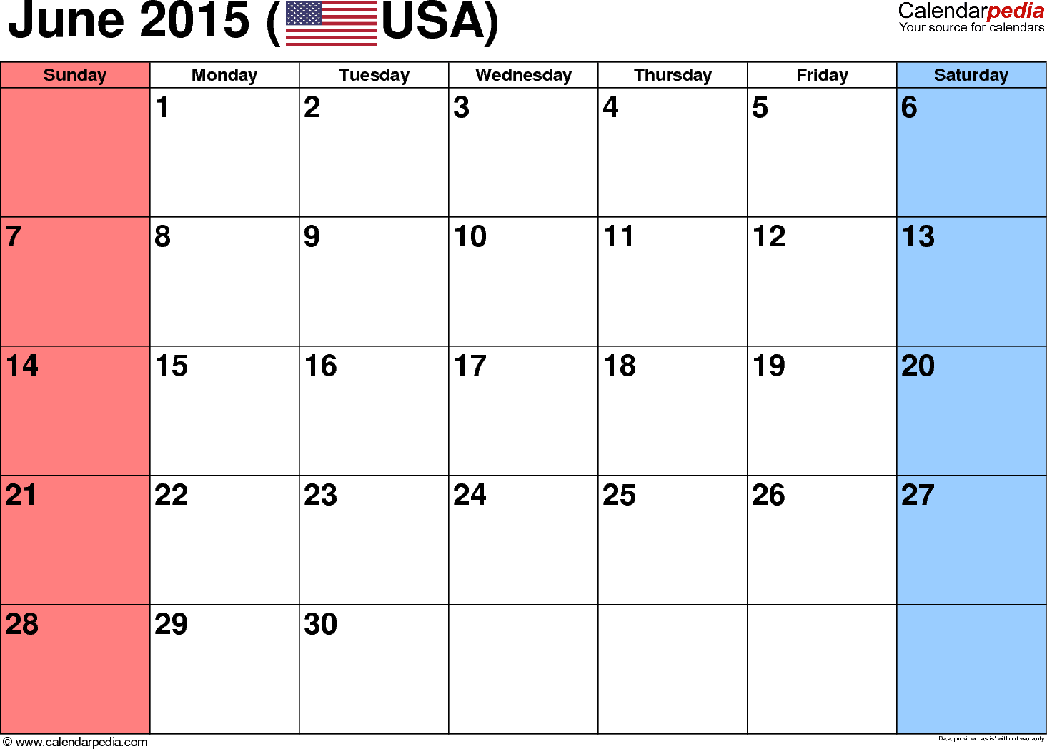 June 2015 calendar, landscape orientation, small numerals, available as printable templates for Word, Excel and PDF