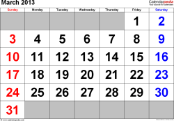 March 2013 calendar, landscape orientation, large numerals, available as printable templates for Word, Excel and PDF