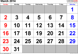 March 2014 calendar, landscape orientation, large numerals, available as printable templates for Word, Excel and PDF