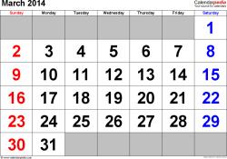 March 2014 calendar
