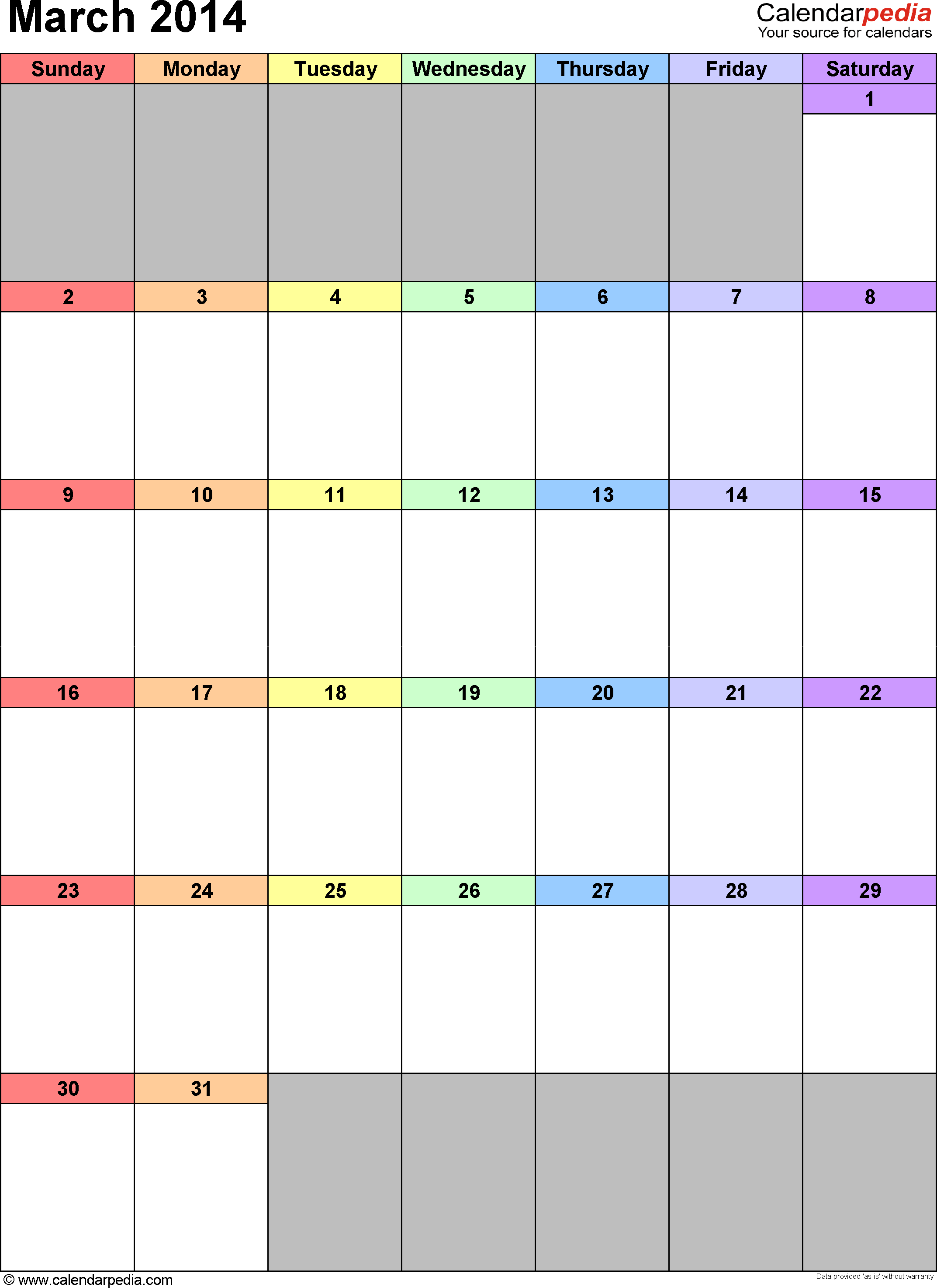 March 2014 calendar as printable Word, Excel & PDF templates