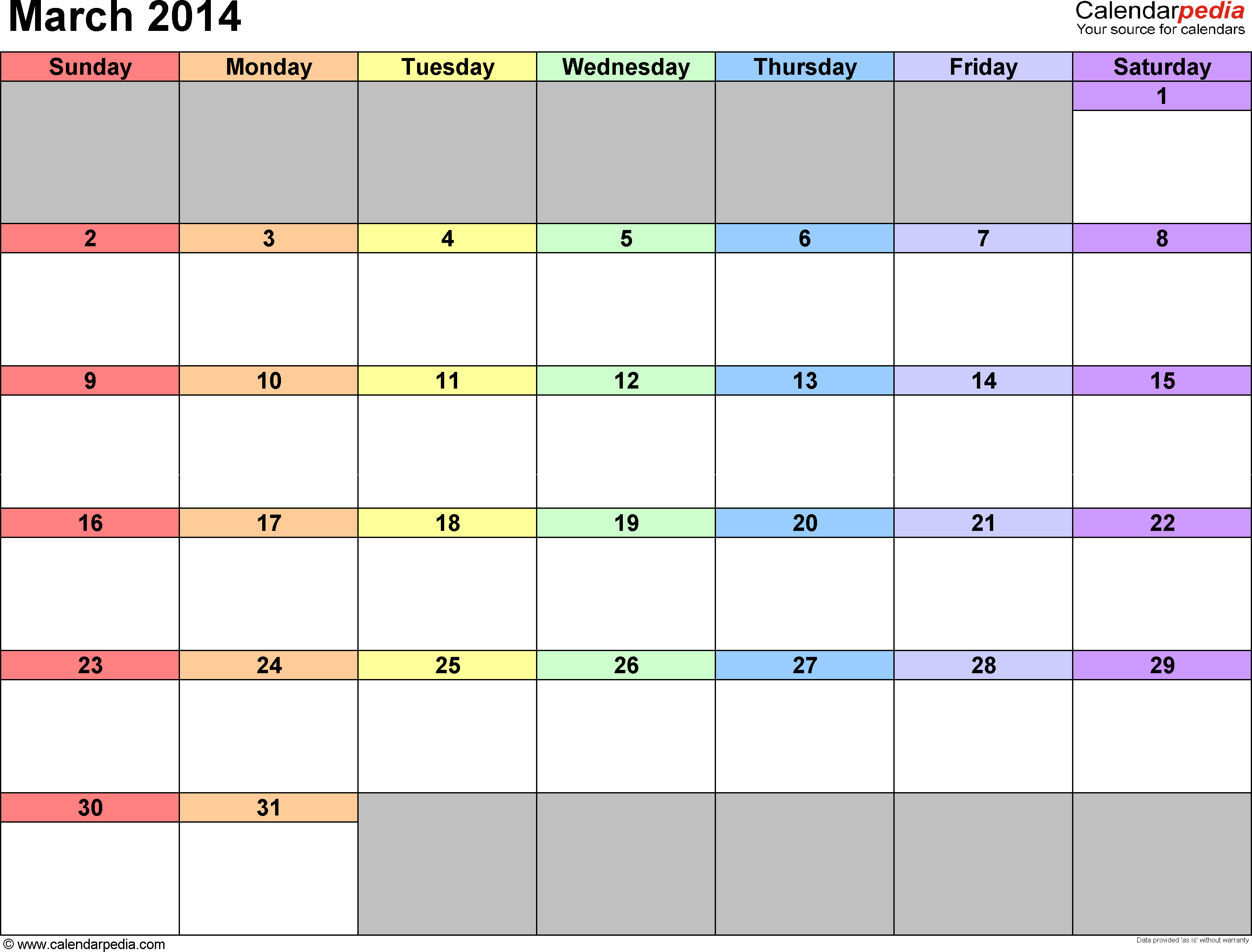 March 2014 calendar printable template