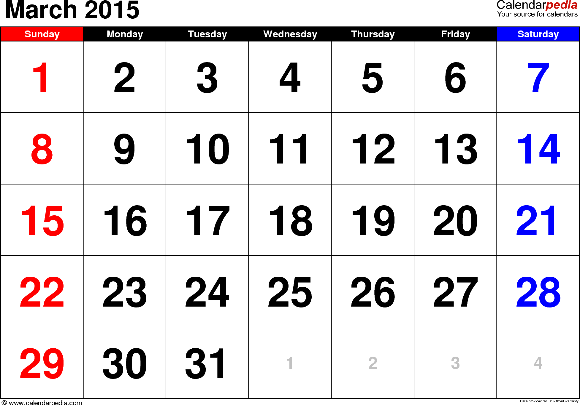 March 2015 calendar, landscape orientation, large numerals, available as printable templates for Word, Excel and PDF