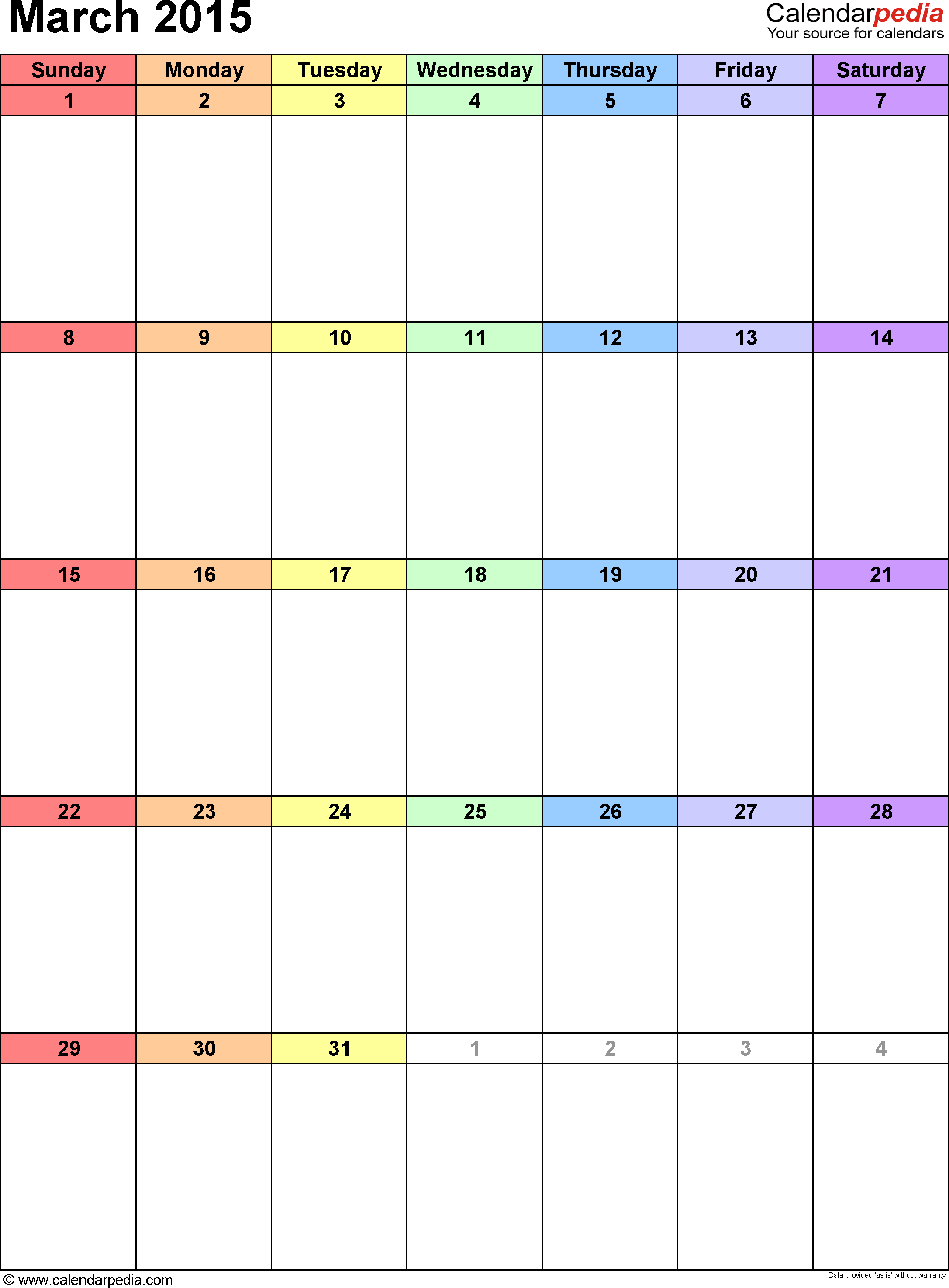 March 2015 calendar as printable Word, Excel & PDF templates