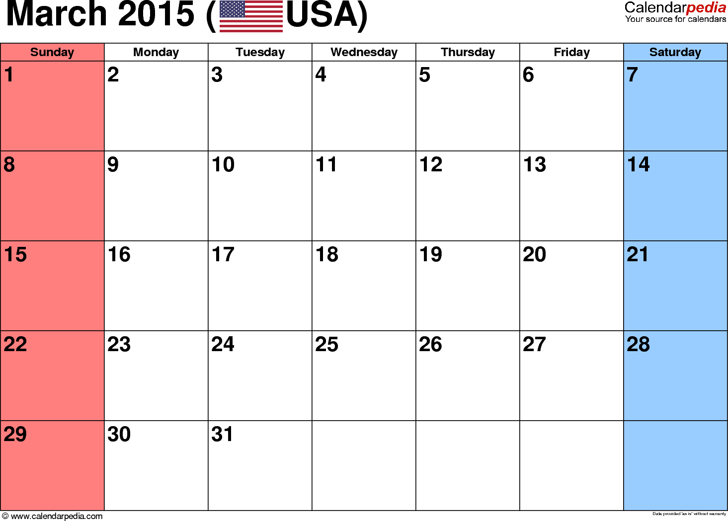 March 2015 calendar, landscape orientation, small numerals, available as printable templates for Word, Excel and PDF