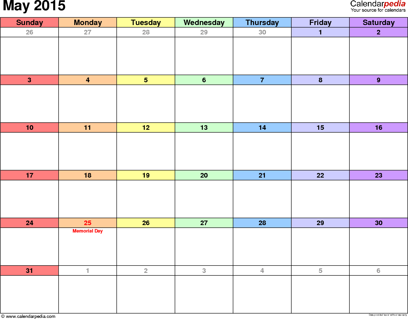 May 2015 calendar, landscape orientation, 'rainbow calendar', available as printable templates for Word, Excel and PDF