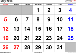 May 2013 calendar, landscape orientation, large numerals, available as printable templates for Word, Excel and PDF