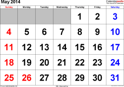 May 2014 calendar, landscape orientation, large numerals, available as printable templates for Word, Excel and PDF