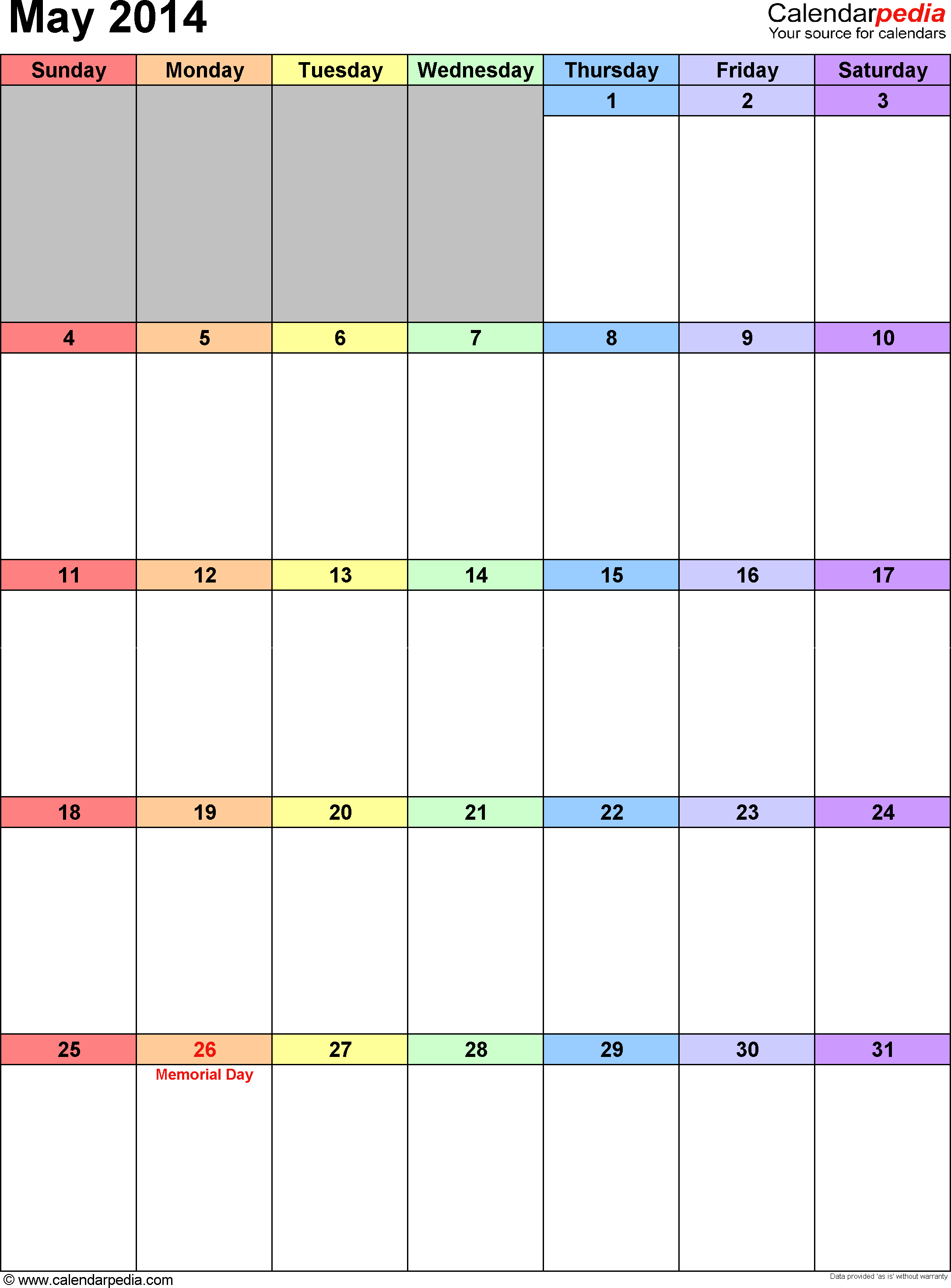 May 2014 calendar, portrait orientation, 'rainbow calendar', available as printable templates for Word, Excel and PDF