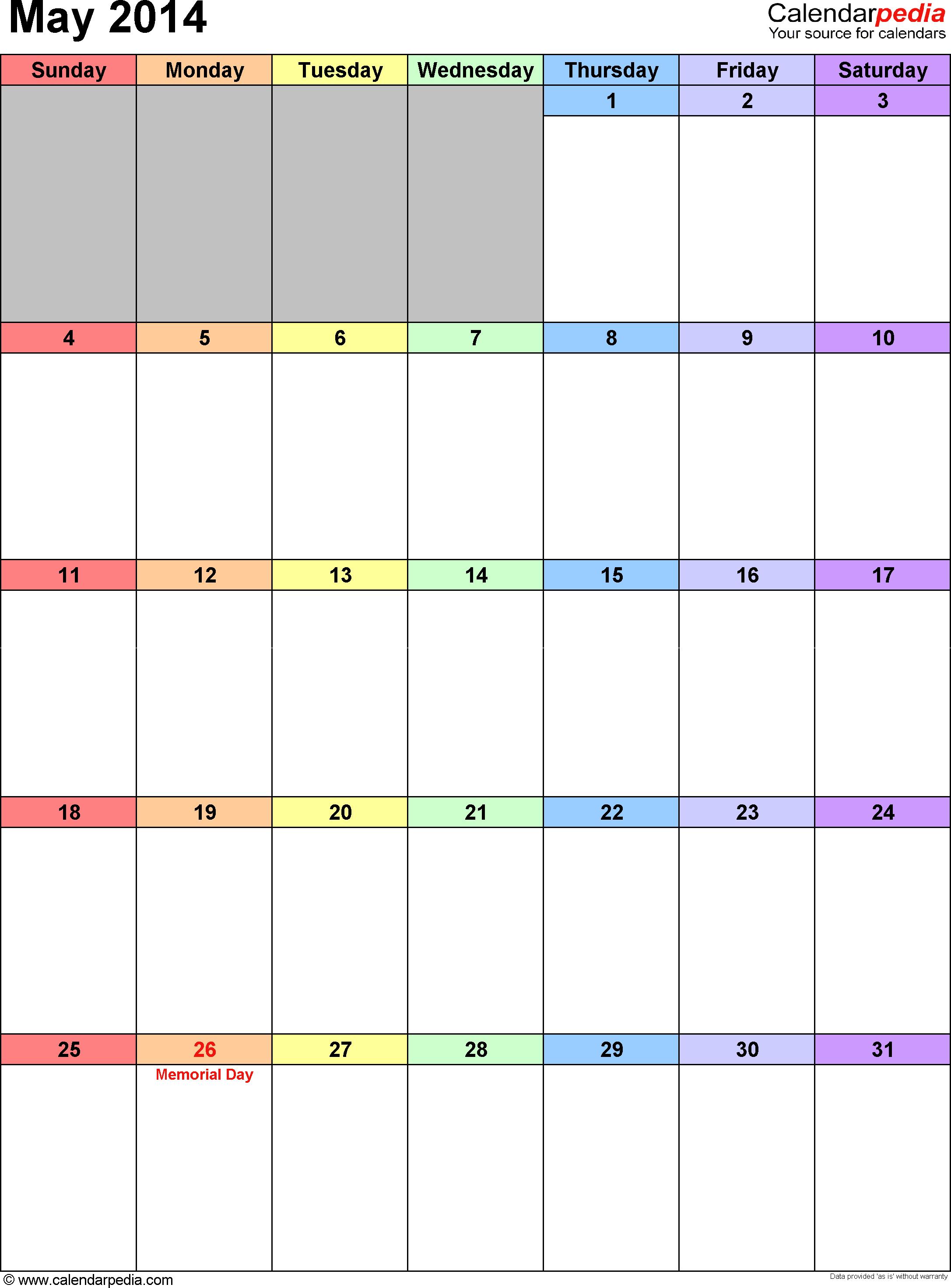 May 2014 calendar as printable Word, Excel & PDF templates