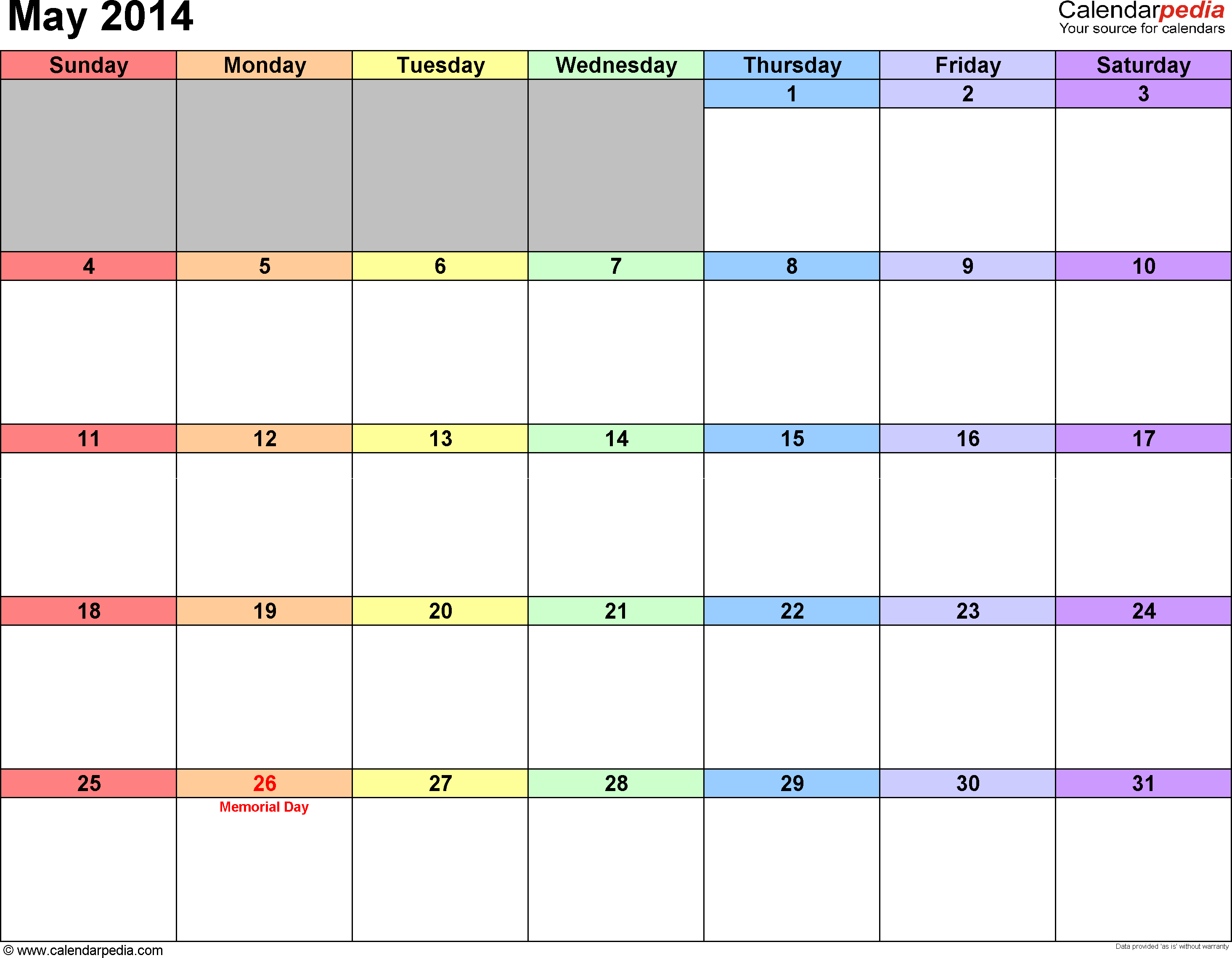 May 2014 calendar, landscape orientation, 'rainbow calendar', available as printable templates for Word, Excel and PDF