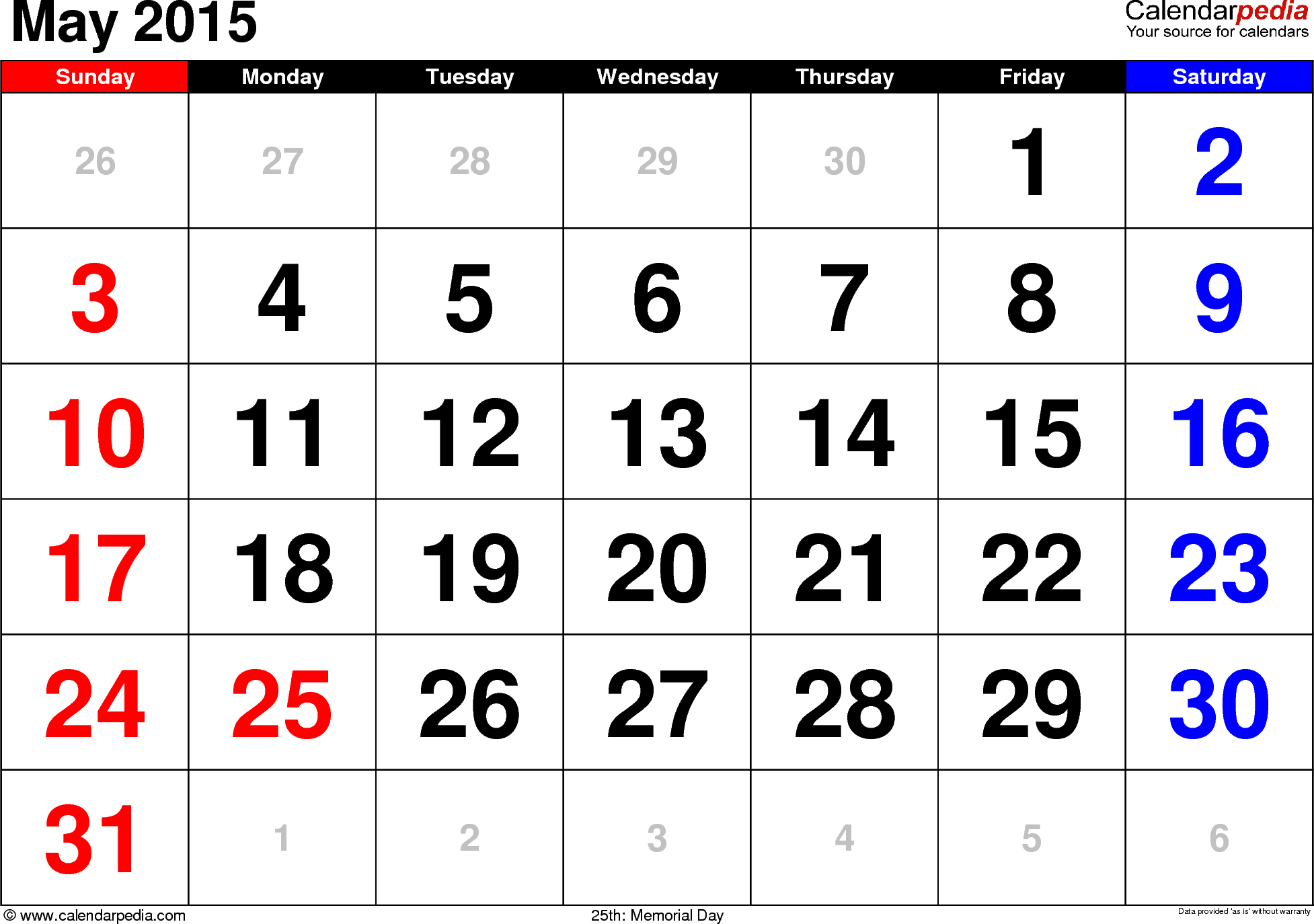 May 2015 calendar, landscape orientation, large numerals, available as printable templates for Word, Excel and PDF