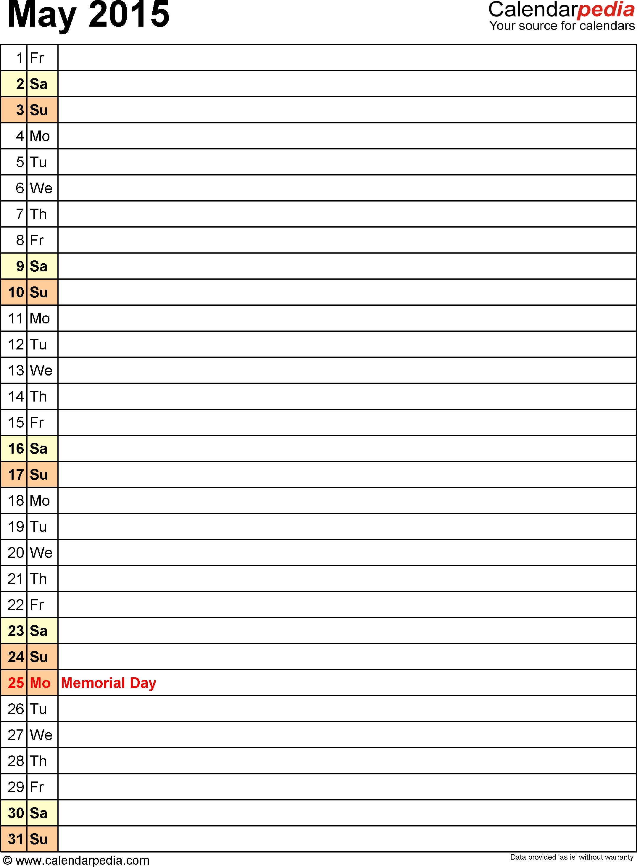 May 2015 calendar, portrait orientation, list view (days aligned vertically), available as printable templates for Word, Excel and PDF