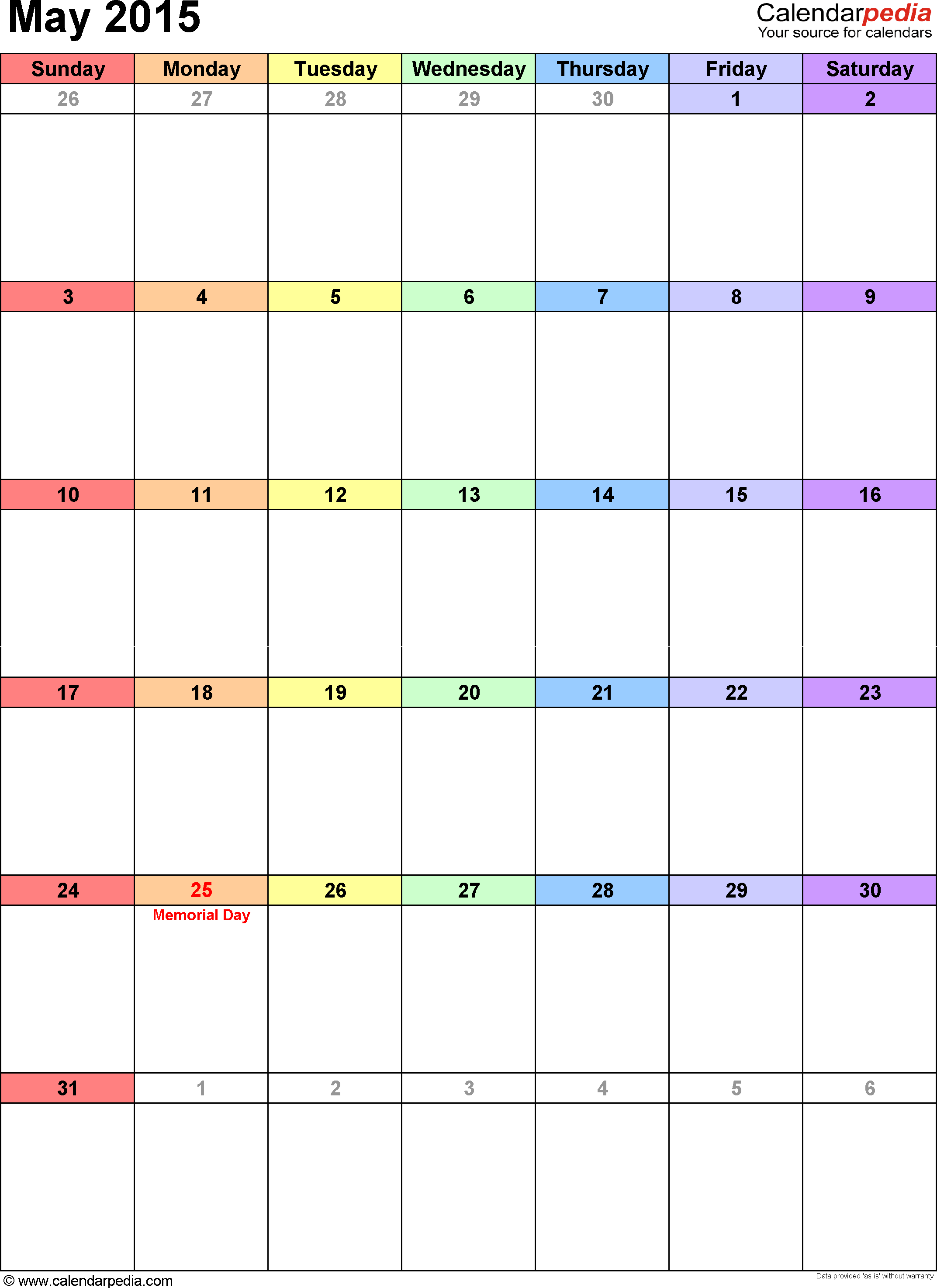 May 2015 calendar, portrait orientation, 'rainbow calendar', available as printable templates for Word, Excel and PDF