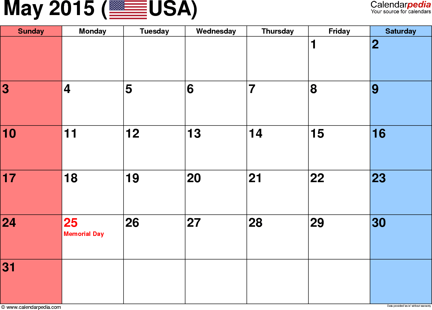 May 2015 calendar, landscape orientation, small numerals, available as printable templates for Word, Excel and PDF