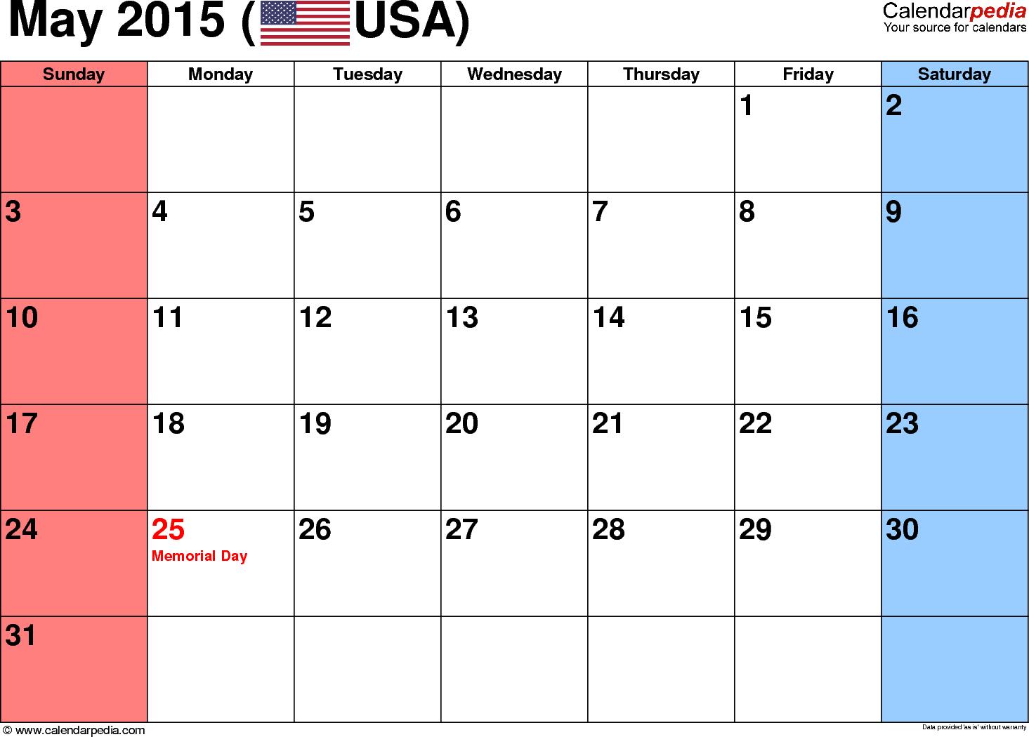 Blank May 2015 calendar