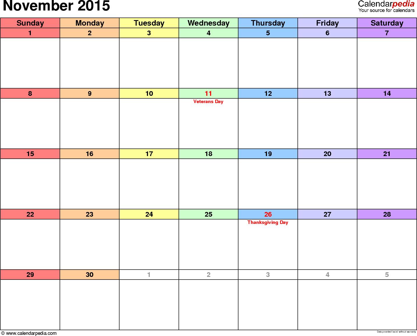 November 2015 calendar printable template