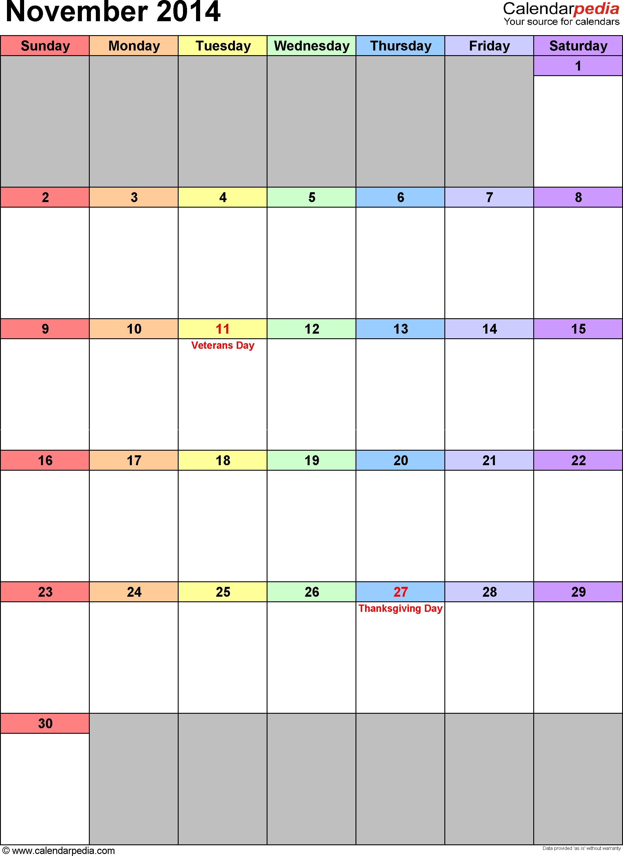 November 2014 calendar, portrait orientation, 'rainbow calendar', available as printable templates for Word, Excel and PDF