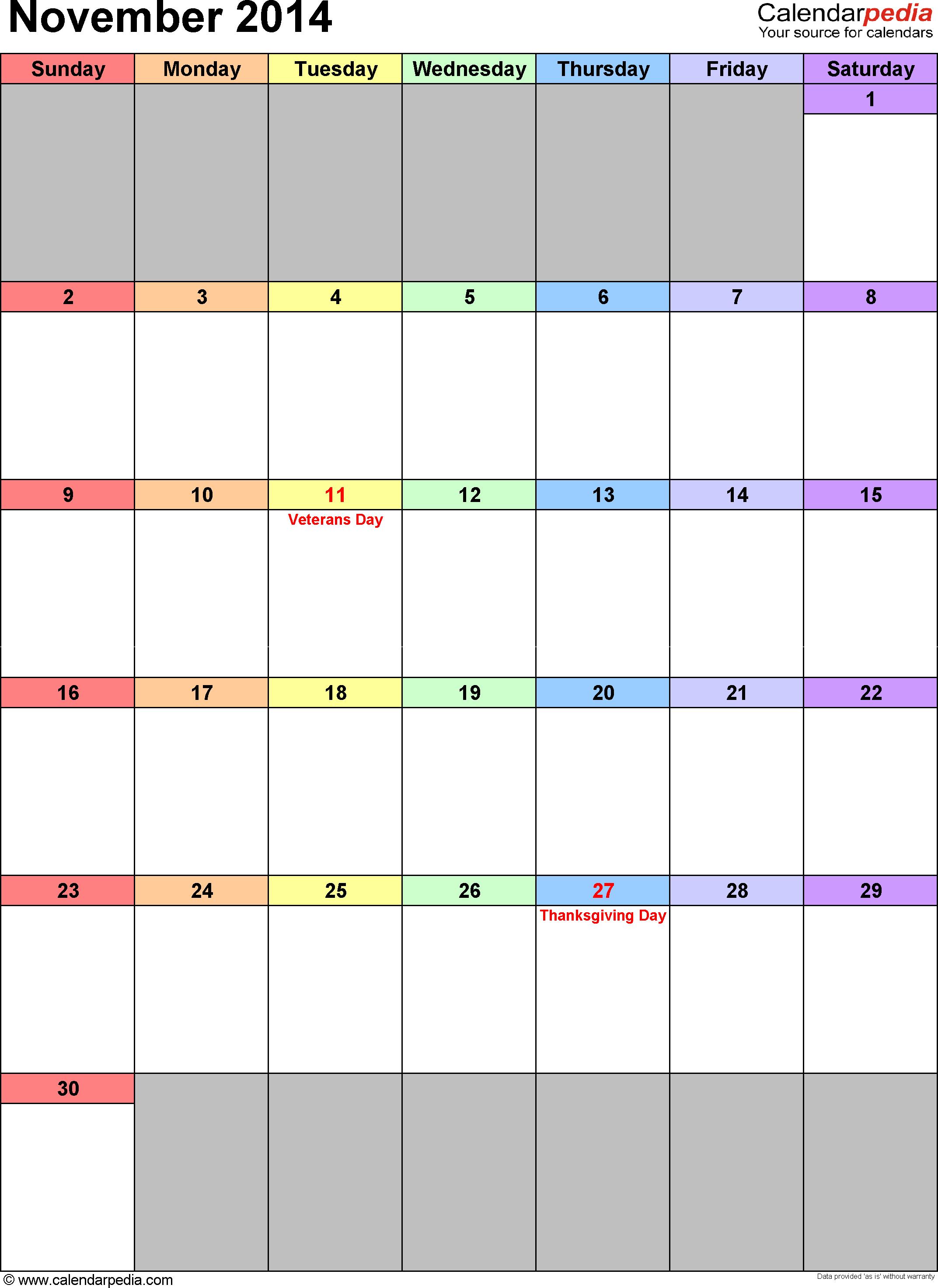 November 2014 calendar as printable Word, Excel & PDF templates