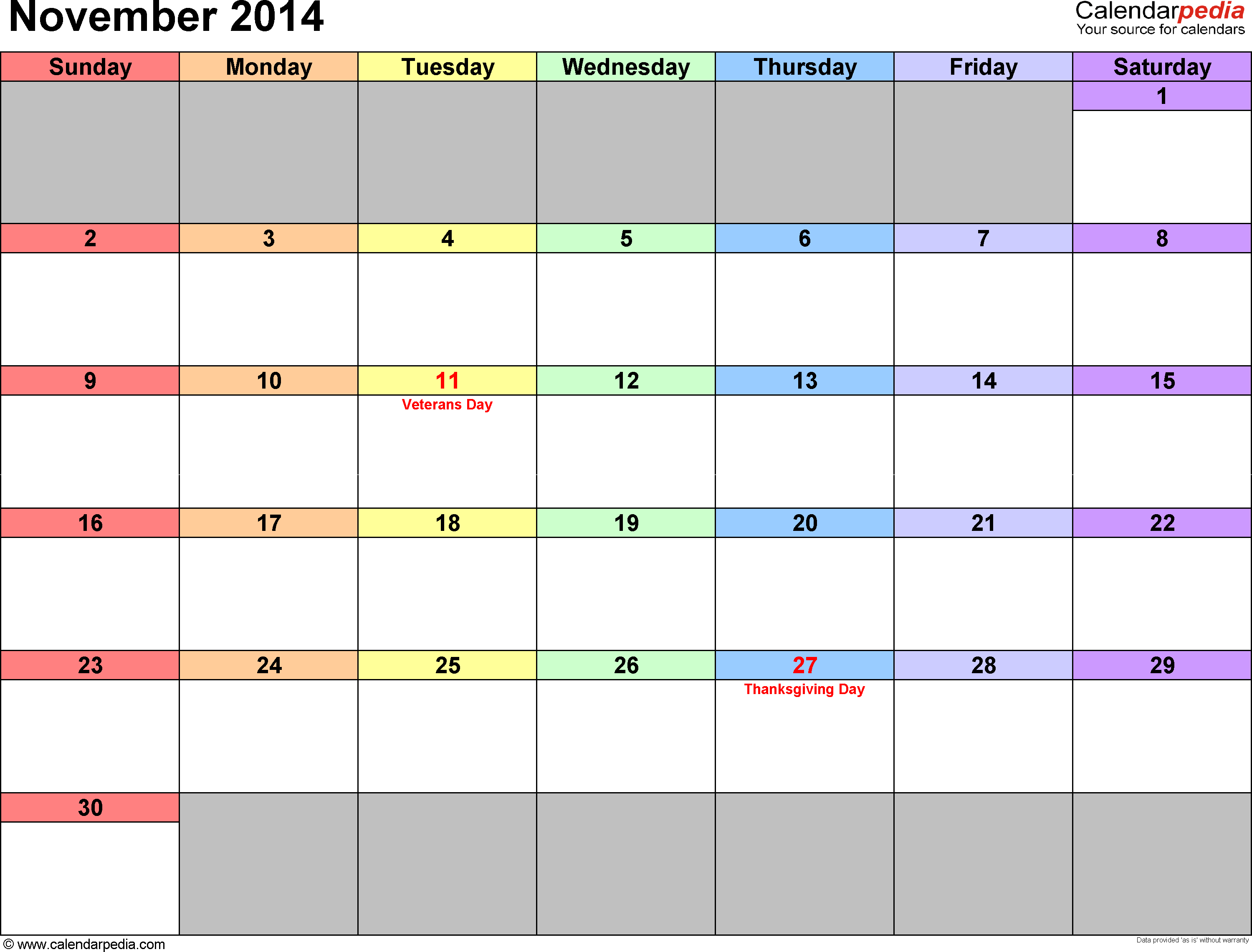 November 2014 calendar, landscape orientation, 'rainbow calendar', available as printable templates for Word, Excel and PDF