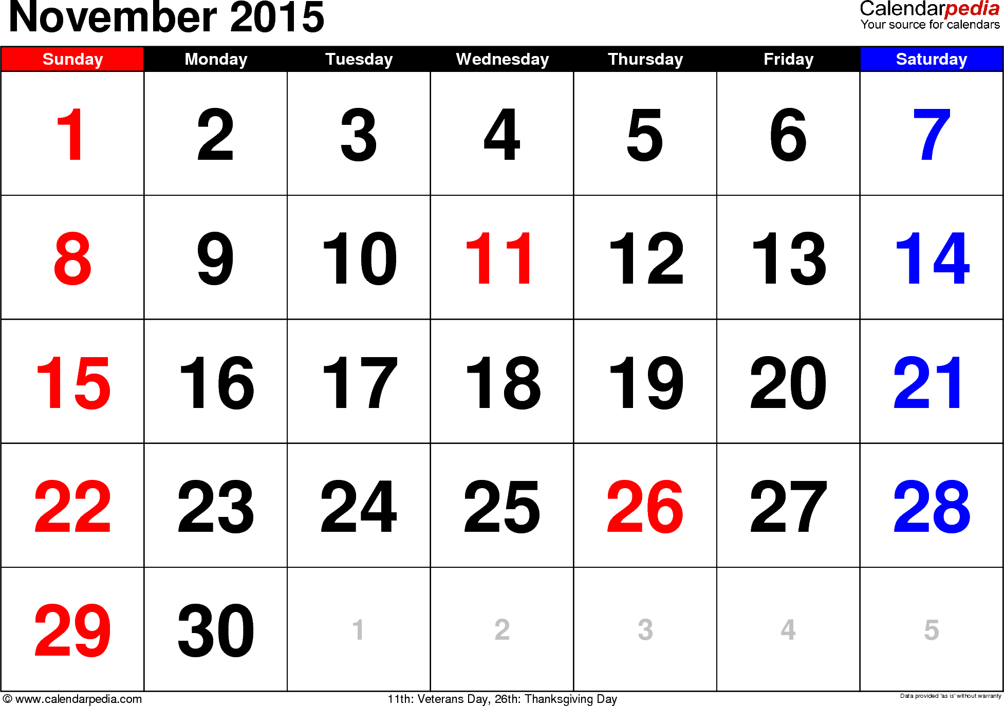 november 2015 calendars for word  excel  u0026 pdf