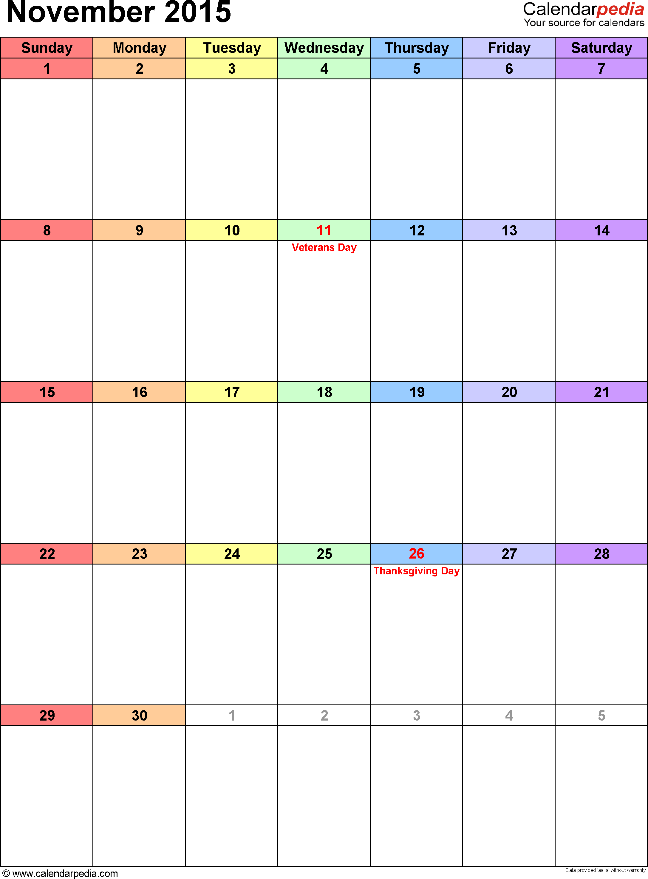 November 2015 calendar as printable Word, Excel & PDF templates