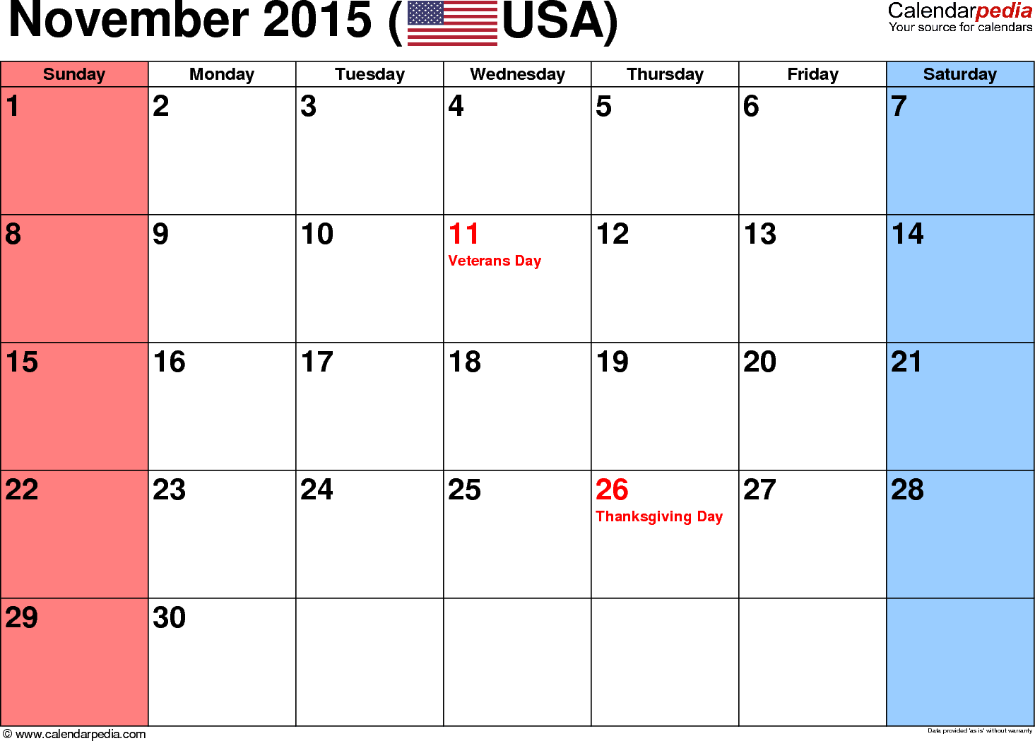 November 2015 Calendars for Word, Excel & PDF