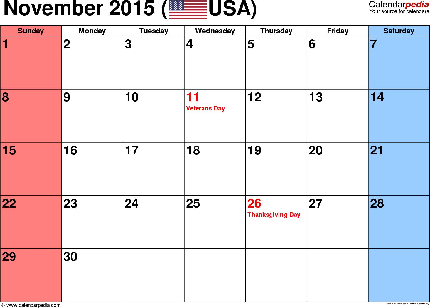 Blank November 2015 calendar