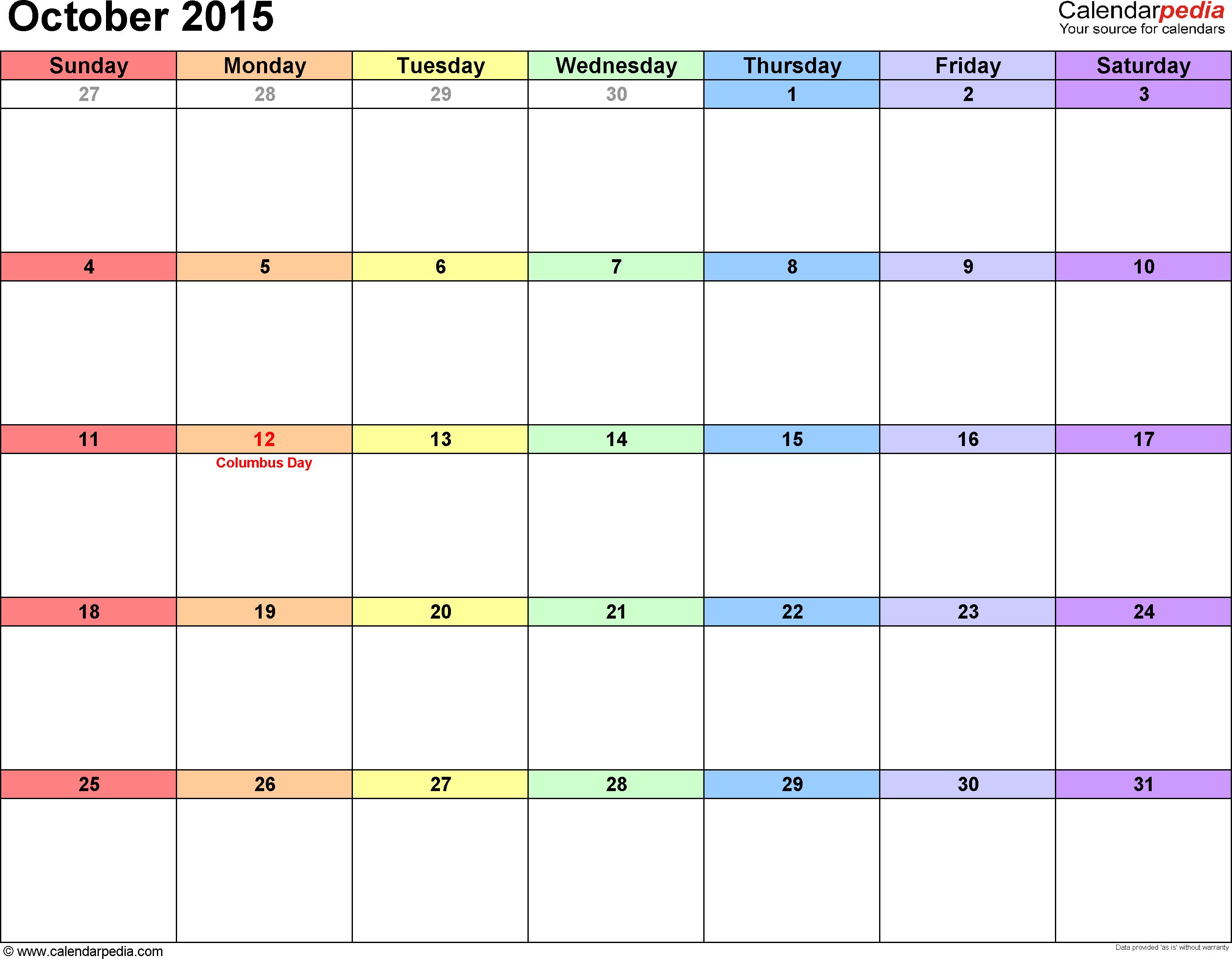 october 2015 calendar printable template